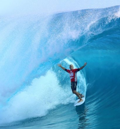 USA's Kelly Slater rides a wave during the third day of the 14th edition of the Billabong Pro Tahiti surf event, part of the ASP (Association of Surfing Professionals) world tour, on August 24, 2014  in Teahupoo, on the French Polynesian island of Tahiti. AFP PHOTO / GREGORY BOISSYGREGORY BOISSY/AFP/Getty Images ORG XMIT: